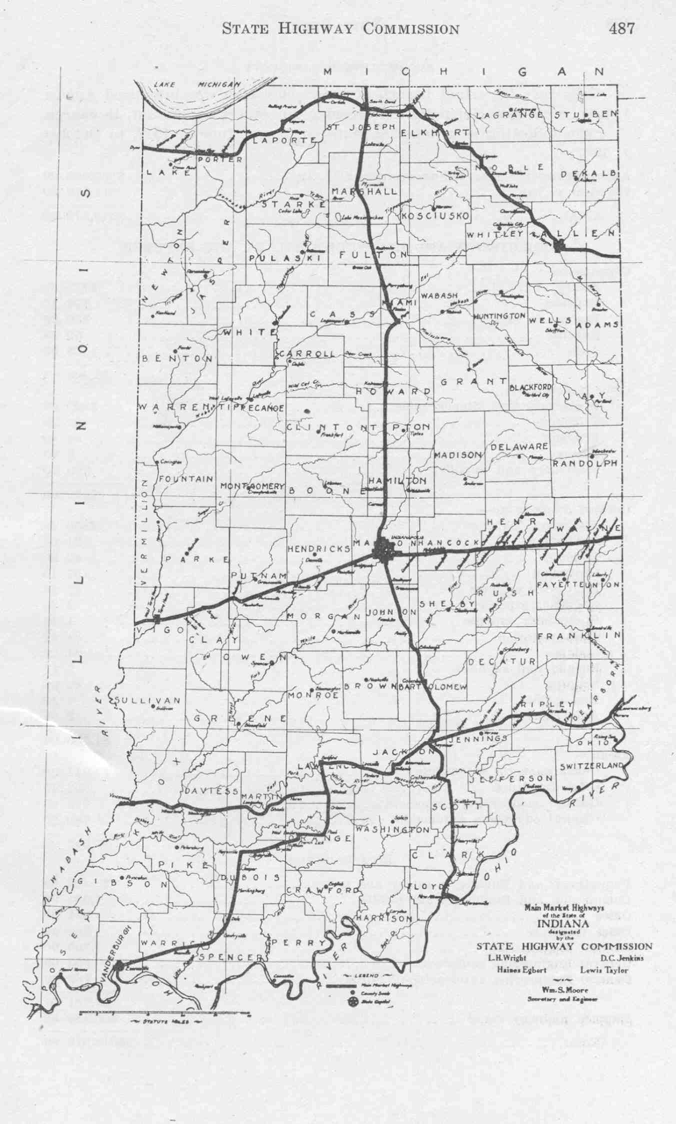 Indiana State Highway Map And State Highway Commission - Map of state of indiana
